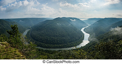 Grand View or Grandview in New River Gorge - Panorama of New...