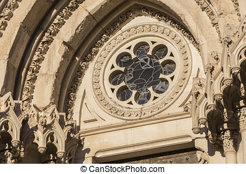 Detail of facade of the Cuencas Cathedral, The cathedral is...