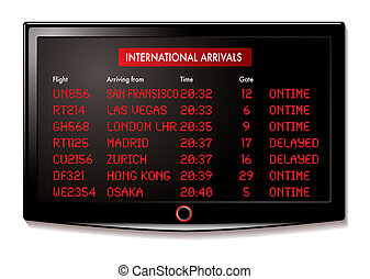 LCD airport arrivals - international flight arrivals display...