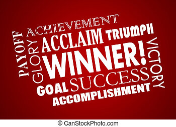 Winner Success Goal Achieved Victory Word Collage 3d...