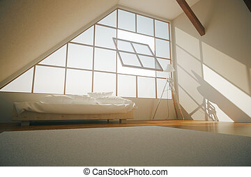 Loft bedroom side - Side view of loft bedroom interior with...