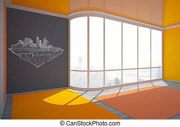 Interior with construction sketch on wall - Empty colorful...