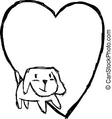 illustration vector hand draw doodles of cute dog smiling with blank heart shape isolated on white background.