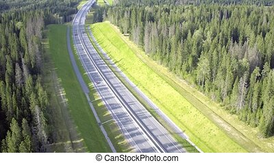 Flight Above Highway in Forest, sunny day