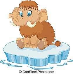 Cute mammoth cartoon - Vector illustration of Cute mammoth...