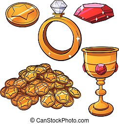 Treasure items - Cartoon treasure jewels. Vector clip art...
