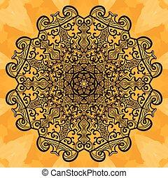 Mandala-like open-work on seamless texture Hand-drawn...