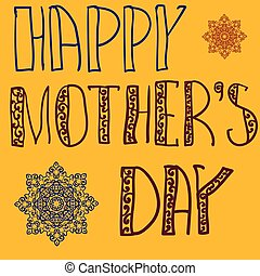 Happy Mothers Day Cover. Handlettering Background With Hand...