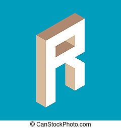 isometric letter r.