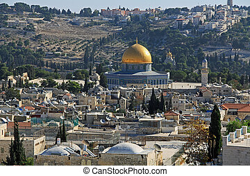 Dome of the Rock - View of the city of Jerusalem, Temple...