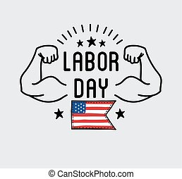Labor Day National holiday of the United States badge or...