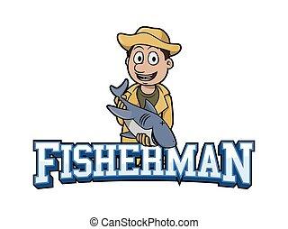 fisherman banner illustration design colorful