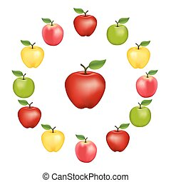 Apples in a Wheel - Apples in a wheel, Granny Smith, Red...