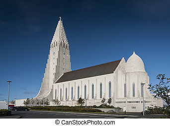 reykjavik city central modern architecture cathedral church in iceland
