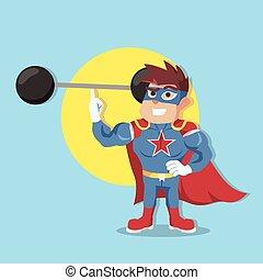 superhero easyly lifting weight