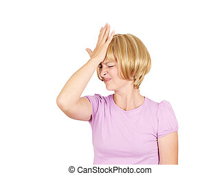 Witless young woman holding her hand to her forehead Blonde...