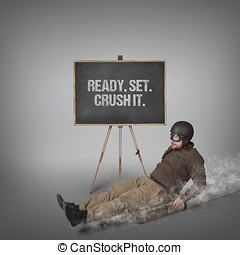 Ready Set Crush it text with businessman sliding with a...
