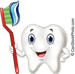 Dental Tooth and Toothbrush cartoon - Vector illustration of...