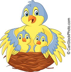 Mother bird with her two babies - Vector illustration of...