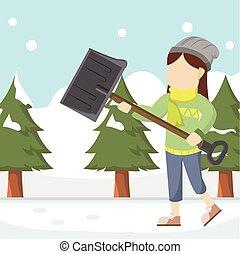girl shoveling snowdrift