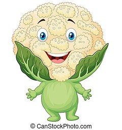 Happy cauliflower cartoon - Vector illustration of Happy...