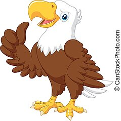 Cartoon funny eagle giving thumb up - Vector illustration of...