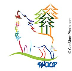 wolf howling logo - Wolf silhouette vector image