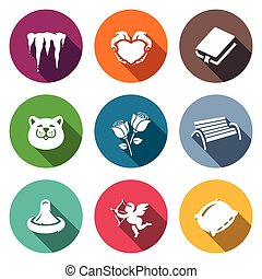 Vector Set of Spring Dating Icons - Icicles, Heart, Book,...