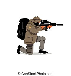 Vector Tactical shooting warrior Cartoon Illustration. - The...