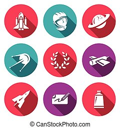 Vector Set of A Space Flight Icons. Spaceport, Outfit,...