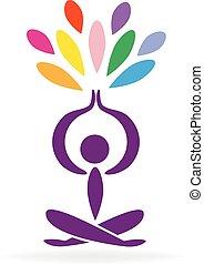 Yoga man and lotus flower logo