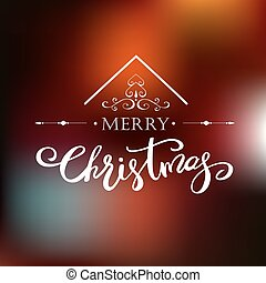Merry Christmas greeting card Holiday lettering design -...