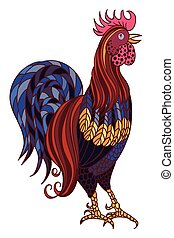 Decorative stylized hand-drawn rooster isolated on white background. Symbol of Chinese New Year 2017