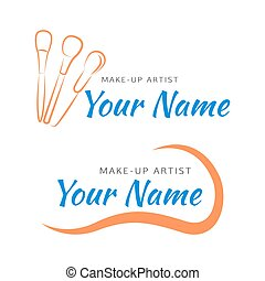 Makeup logo with brush and curved line. - Makeup brush with...