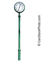 street clock on green column Isolated over white background...