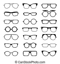 Sunglasses, eyeglasses, geek glasses different model shapes vector silhouettes icons