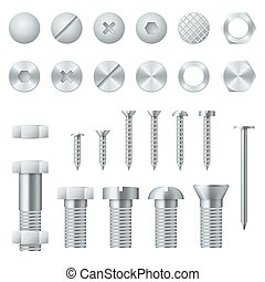 Screws, bolts, nuts, nails and rivets realistic vector design elements