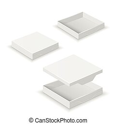 White square flat empty 3d boxes isolated