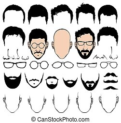 Design constructor with man head vector silhouette shapes of haircuts, glasses, beards, mustaches