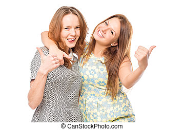 Portrait of cheerful friends embracing on a white background