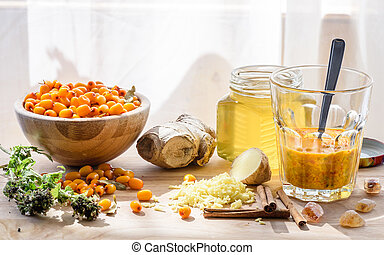 Ingredients for homemade mixture strengthens the immune...
