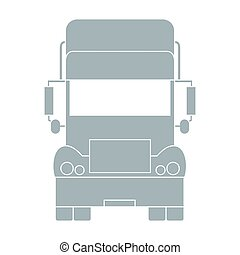 Stylized icon of the truck front on a white background