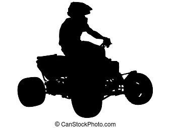 Motocross races man - Athletes ATV during races on white...