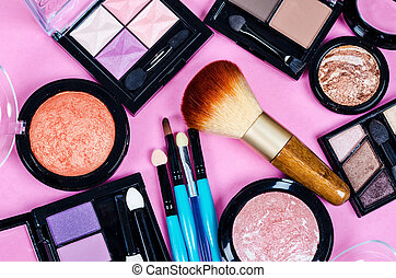 Set of colorful cosmetics.