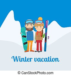 Winter sport, couple on vacation