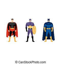 Superhero costumes isolated vector set of clothes for super...