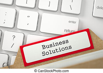 Index Card with Inscription Business Solutions 3D...