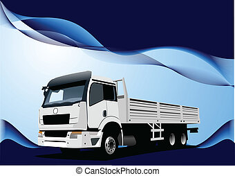 Blue wave background with lorry image Vector illustration