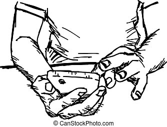 illustration vector doodle hand drawn of rough sketch hand...