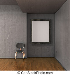 gallery empty frame with the canvas on a concrete wall in the room, a chair near the wall. 3D illustration